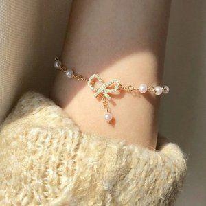 NEW Yellow Gold Diamond Bow Knot Pearl Bracelet
